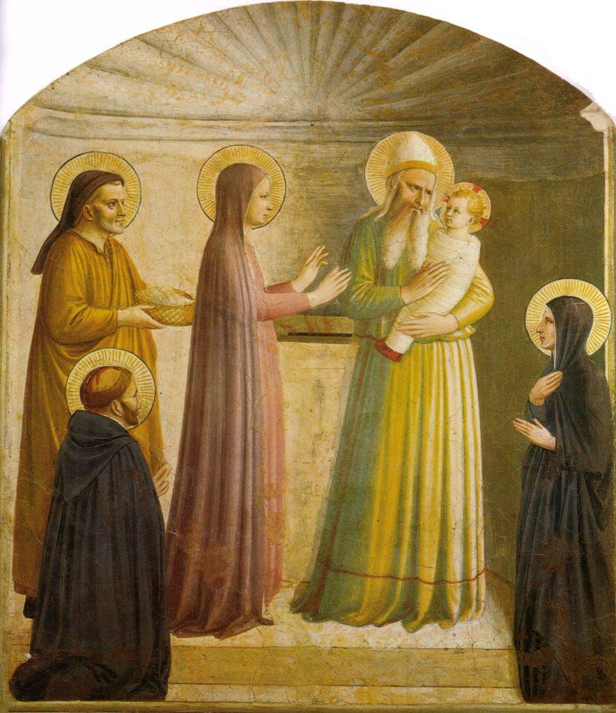 Fresk autorstwa bł. Fra Angelico, przedstawiający ofiarowanie Jezusa w świątyni